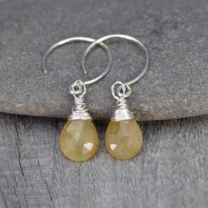 Shop Yellow Sapphire Earrings! Yellow Sapphire Earrings, September Birthstone, Sapphire Gift Handmade in the UK | Natural genuine Yellow Sapphire earrings. Buy crystal jewelry, handmade handcrafted artisan jewelry for women.  Unique handmade gift ideas. #jewelry #beadedearrings #beadedjewelry #gift #shopping #handmadejewelry #fashion #style #product #earrings #affiliate #ad