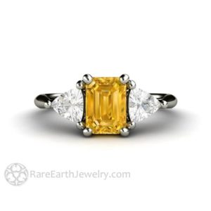 Shop Yellow Sapphire Rings! Yellow Sapphire Engagement Ring Vintage Yellow Sapphire Ring White Sapphire Trillions 3 Stone Three Stone 14K or 18K Gold Unique Engagement | Natural genuine Yellow Sapphire rings, simple unique alternative gemstone engagement rings. #rings #jewelry #bridal #wedding #jewelryaccessories #engagementrings #weddingideas #affiliate #ad