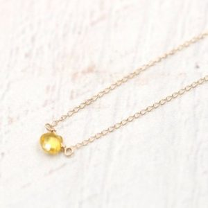 Shop Yellow Sapphire Necklaces! Yellow Sapphire Necklace  -14k Solid Gold Heart-shaped Sapphire -14k Gold – Dainty necklace -September Birthstone | Natural genuine Yellow Sapphire necklaces. Buy crystal jewelry, handmade handcrafted artisan jewelry for women.  Unique handmade gift ideas. #jewelry #beadednecklaces #beadedjewelry #gift #shopping #handmadejewelry #fashion #style #product #necklaces #affiliate #ad