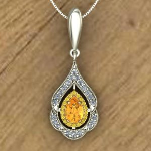 Shop Yellow Sapphire Pendants! Yellow Sapphire Pendant – Pear Double Halo – Yellow Diamonds – 14k Yellow and White Gold Necklace – An Original Design by Charles Babb | Natural genuine Yellow Sapphire pendants. Buy crystal jewelry, handmade handcrafted artisan jewelry for women.  Unique handmade gift ideas. #jewelry #beadedpendants #beadedjewelry #gift #shopping #handmadejewelry #fashion #style #product #pendants #affiliate #ad
