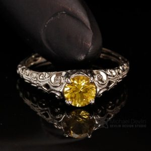 Shop Yellow Sapphire Rings! yellow sapphire ring, floral scroll style, 14k white gold, 0.78 carat round sapphire | Natural genuine Yellow Sapphire rings, simple unique handcrafted gemstone rings. #rings #jewelry #shopping #gift #handmade #fashion #style #affiliate #ad