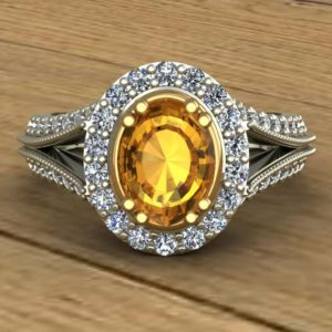 Shop Yellow Sapphire Rings! Yellow Sapphire Ring – Diamond Oval Halo Split Shank Ring – 14k Two Tone White with Yellow Gold Scrolls – An Original Design by Charles Babb | Natural genuine Yellow Sapphire rings, simple unique handcrafted gemstone rings. #rings #jewelry #shopping #gift #handmade #fashion #style #affiliate #ad