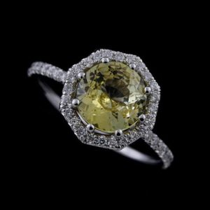 Yellow Sapphire Ring, Octagon Halo Engagement Ring, Half Way Diamond Ring, 14K White Gold Modern Ring, French Cut Micro Pave Diamond Ring | Natural genuine Yellow Sapphire rings, simple unique alternative gemstone engagement rings. #rings #jewelry #bridal #wedding #jewelryaccessories #engagementrings #weddingideas #affiliate #ad