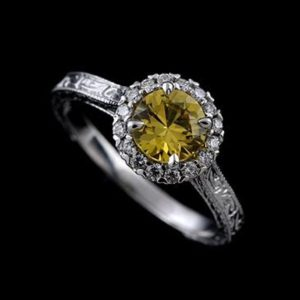 Yellow Sapphire Ring, Vintage Inspired Engagement Ring, Halo Diamond Ring, Engraved Milgrain Engagement Ring, Gold Platinum Color Stone Ring | Natural genuine Yellow Sapphire rings, simple unique alternative gemstone engagement rings. #rings #jewelry #bridal #wedding #jewelryaccessories #engagementrings #weddingideas #affiliate #ad