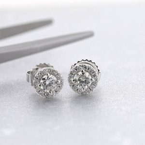 0.7 Carat Halo Style Diamond Earrings, 14K White Gold, Diamond Halo Earrings, White Gold Earrings, Diamond Prong Earrings, Wedding Earrings | Natural genuine Gemstone earrings. Buy handcrafted artisan wedding jewelry.  Unique handmade bridal jewelry gift ideas. #jewelry #beadedearrings #gift #crystaljewelry #shopping #handmadejewelry #wedding #bridal #earrings #affiliate #ad