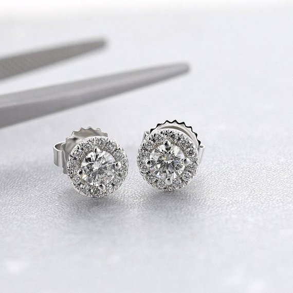 0.7 Carat Halo Style Diamond Earrings, 14k White Gold, Diamond Halo Earrings, White Gold Earrings, Diamond Prong Earrings, Wedding Earrings