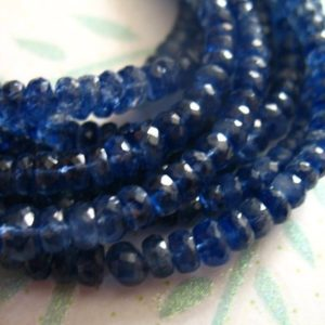 Shop Kyanite Rondelle Beads! 10-50 pcs, KYANITE Rondelles Beads, Luxe AA/AAA, 4-5 mm, Faceted, Kashmir Sapphire Blue, bridal brides september tr  45 solo | Natural genuine rondelle Kyanite beads for beading and jewelry making.  #jewelry #beads #beadedjewelry #diyjewelry #jewelrymaking #beadstore #beading #affiliate #ad