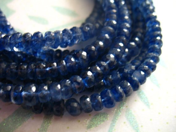 10-50 Pcs, Kyanite Rondelles Beads, Luxe Aa/aaa, 4-5 Mm, Faceted, Kashmir Sapphire Blue, Bridal Brides September Tr  45 Solo