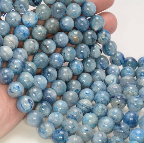 10mm Kyanite Gemstone Eye Grade Aa Blue Round 10mm Loose Beads 7.5 Inch Half Strand Lot 1,2,6,12 And 50 (80000631-259)