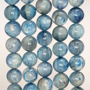 10mm Kyanite Gemstone Grade A Blue Round 10mm Loose Beads 7.5 inch Half Strand (80000631-259) | Natural genuine round Kyanite beads for beading and jewelry making.  #jewelry #beads #beadedjewelry #diyjewelry #jewelrymaking #beadstore #beading #affiliate #ad