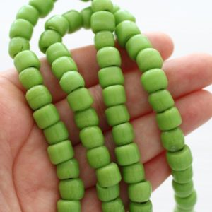 Shop Beads With Large Holes! 10pc green lampwork large glass beads, artisan large hole glass beads, rondelle beads, olive glass barrel beads, round lamp work beads | Shop jewelry making and beading supplies, tools & findings for DIY jewelry making and crafts. #jewelrymaking #diyjewelry #jewelrycrafts #jewelrysupplies #beading #affiliate #ad