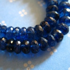 5-20 pcs, KYANITE Rondelles Beads, Luxe AA/AAA, 5-5.5 mm, Kashmir Sapphire Blue, wholesale bridal brides september something blue tr 55 | Natural genuine rondelle Kyanite beads for beading and jewelry making.  #jewelry #beads #beadedjewelry #diyjewelry #jewelrymaking #beadstore #beading #affiliate #ad