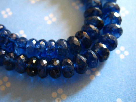 5-20 Pcs, Kyanite Rondelles Beads, Luxe Aa / Aaa, 5-5.5 Mm, Kashmir Sapphire Blue, Wholesale Bridal Brides September Something Blue Tr 55