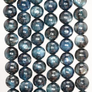 Shop Kyanite Round Beads! 7-8mm Kyanite Gemstone Grade A Dark Blue Round 7-8mm Loose Beads 7 inch Half Strand (80000630-259) | Natural genuine round Kyanite beads for beading and jewelry making.  #jewelry #beads #beadedjewelry #diyjewelry #jewelrymaking #beadstore #beading #affiliate #ad