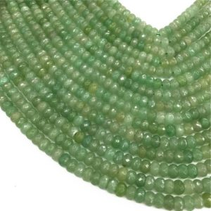 Shop Aventurine Rondelle Beads! 8x5mm Green Aventurine Faceted Rondelle Beads , 15.5 Inch Strand,Approx 78Beads | Natural genuine rondelle Aventurine beads for beading and jewelry making.  #jewelry #beads #beadedjewelry #diyjewelry #jewelrymaking #beadstore #beading #affiliate #ad