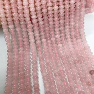Shop Rose Quartz Rondelle Beads! Rose Quartz Rondelle Beads, Rondelle Stone Beads, Gemstone Beads | Natural genuine rondelle Rose Quartz beads for beading and jewelry making.  #jewelry #beads #beadedjewelry #diyjewelry #jewelrymaking #beadstore #beading #affiliate #ad