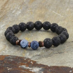 Shop Agate Bracelets! Volcanic Lava Coconut & Indigo Agate Bracelet, Mens Yoga Bracelet, Minimalist Root Chakra Mala Beads, Protection-Grounding-Strength | Natural genuine Agate bracelets. Buy handcrafted artisan men's jewelry, gifts for men.  Unique handmade mens fashion accessories. #jewelry #beadedbracelets #beadedjewelry #shopping #gift #handmadejewelry #bracelets #affiliate #ad