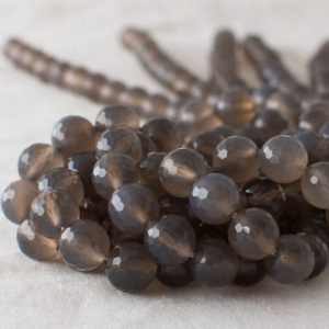 "Shop Agate Faceted Beads! High Quality Grade A Natural Grey Agate Semi-precious Gemstone FACETED Round Beads – 4mm, 6mm, 8mm, 10mm sizes – Approx 15"" strand 