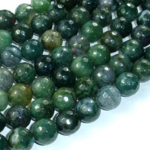 Shop Moss Agate Beads! Moss Agate Beads, 10mm Faceted Round Beads, 15 Inch, Full strand, Approx 37 beads, Hole 1mm, A quality (323025006) | Natural genuine beads Agate beads for beading and jewelry making.  #jewelry #beads #beadedjewelry #diyjewelry #jewelrymaking #beadstore #beading #affiliate #ad