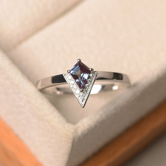 Created Alexandrite Ring, Kite Engagement Ring, Color Changing Gemstone Ring, June Birthstone Ring