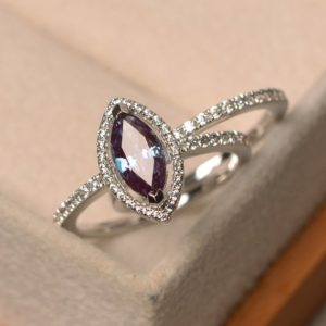 Shop Alexandrite Rings! Alexandrite Engagement Ring, Marquise Cut Halo Ring, June Birthstone, Sterling Silver Ring, Color Changing Gems Ring, Set Rings | Natural genuine Alexandrite rings, simple unique alternative gemstone engagement rings. #rings #jewelry #bridal #wedding #jewelryaccessories #engagementrings #weddingideas #affiliate #ad