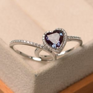 Shop Alexandrite Rings! Lab Alexandrite Proposal Ring, Heart Cut, Set Rings, Engagement Ring With Band, Halo Ring | Natural genuine Alexandrite rings, simple unique alternative gemstone engagement rings. #rings #jewelry #bridal #wedding #jewelryaccessories #engagementrings #weddingideas #affiliate #ad