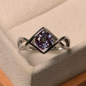 Shop Alexandrite Jewelry! Alexandrite silver ring, engagement rings, June birthstone, round cut, color changing gemstone, Solitaire ring | Natural genuine Alexandrite jewelry. Buy handcrafted artisan wedding jewelry.  Unique handmade bridal jewelry gift ideas. #jewelry #beadedjewelry #gift #crystaljewelry #shopping #handmadejewelry #wedding #bridal #jewelry #affiliate #ad