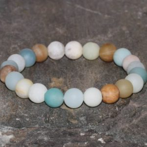 Rainbow Amazonite Beaded Bracelet Stacking Bracelet 8mm Beads Throat Chakra Healing Crystals Stress Emotionally Soothing EMF Protection | Natural genuine Gemstone bracelets. Buy crystal jewelry, handmade handcrafted artisan jewelry for women.  Unique handmade gift ideas. #jewelry #beadedbracelets #beadedjewelry #gift #shopping #handmadejewelry #fashion #style #product #bracelets #affiliate #ad