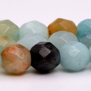 "Shop Amazonite Faceted Beads! 4MM Multicolor Amazonite Beads Grade A Genuine Natural Gemstone Faceted Round Loose Beads 15"" / 7.5"" Bulk Lot Options (100881) 