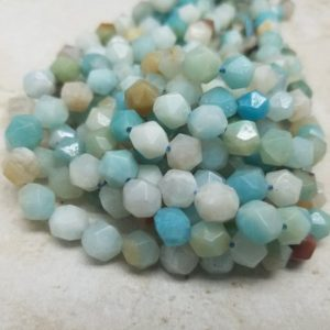 Shop Amazonite Faceted Beads! 5.5mm or 7.5mm Mixed Amazonite Star Cut  Faceted Beads, 15 inch | Natural genuine faceted Amazonite beads for beading and jewelry making.  #jewelry #beads #beadedjewelry #diyjewelry #jewelrymaking #beadstore #beading #affiliate #ad