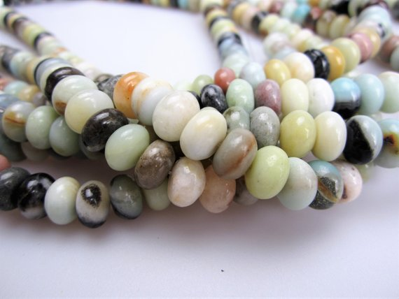 """Multi-color Amazonite Smooth Rondelle Beads 4x6mm 5x8mm 6x10mm 15.5"""" Strand"""