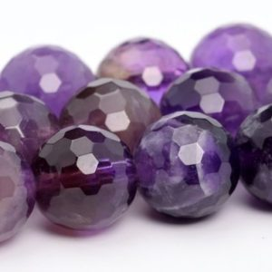 "Shop Amethyst Faceted Beads! 8MM Amethyst Beads Grade AA Genuine Natural Gemstone Full Strand Micro Faceted Round Loose Beads 15"" BULK LOT 1,3,5,10 and 50 (100851-325) 