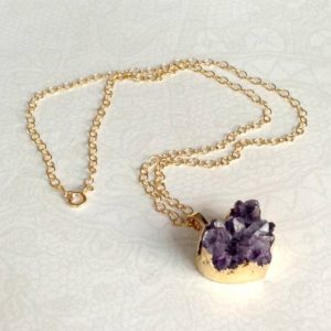 Amethyst Druzy Necklace – February Birthstone – Purple Heart Druzy Pendant – Gold – Valentine Jewelry – Long | Natural genuine Array jewelry. Buy crystal jewelry, handmade handcrafted artisan jewelry for women.  Unique handmade gift ideas. #jewelry #beadedjewelry #beadedjewelry #gift #shopping #handmadejewelry #fashion #style #product #jewelry #affiliate #ad