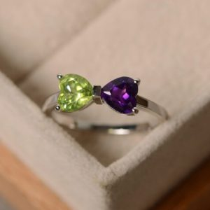 Shop Unique Amethyst Engagement Rings! Amethyst periodt ring, heart cut, birthstone ring, silver, promise ring | Natural genuine Amethyst rings, simple unique handcrafted gemstone rings. #rings #jewelry #shopping #gift #handmade #fashion #style #affiliate #ad