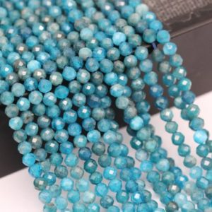 "Shop Apatite Faceted Beads! Natural Apatite Faceted Round Gemstone Loose Beads 15.5"" Long Per Strand Size 2mm/3mm/4mm. GEM-XT073018007 