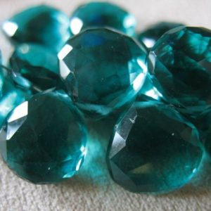 2-20 pcs / Apatite QUARTZ Briolettes Beads, Faceted Heart / 10-11.5 mm / Teal Blue Green / brides bridal wholesale beads solo, hydqtz48 bsc | Natural genuine other-shape Apatite beads for beading and jewelry making.  #jewelry #beads #beadedjewelry #diyjewelry #jewelrymaking #beadstore #beading #affiliate #ad