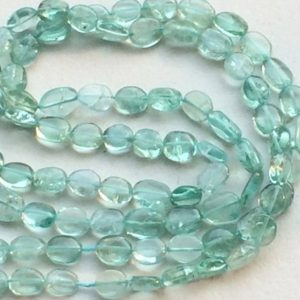 Sea Green Apatite Beads, Sea Green Apatite Plain Oval Beads, Green Apatite Necklace, 5-6.5mm, 13 Inch – RAMA140 | Natural genuine other-shape Gemstone beads for beading and jewelry making.  #jewelry #beads #beadedjewelry #diyjewelry #jewelrymaking #beadstore #beading #affiliate #ad