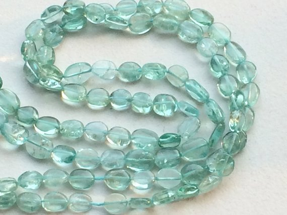 Sea Green Apatite Beads, Sea Green Apatite Plain Oval Beads, Green Apatite Necklace, 5-6.5mm, 13 Inch - Rama140