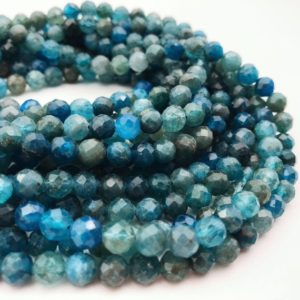 "Shop Apatite Beads! Natural Apatite Faceted Round Beads 6mm 7mm 8mm 9mm 15.5"" Strand 