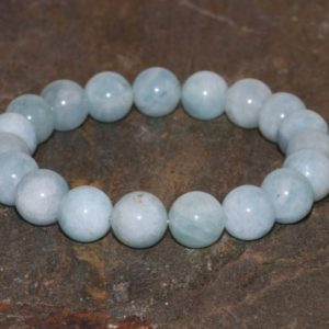 10mm Aquamarine Beaded Bracelet, Throat Chakra Yoga, Wrist Mala Beads, Healing Crystals, Feminine Energy Emotional Strength Communication | Natural genuine Gemstone bracelets. Buy crystal jewelry, handmade handcrafted artisan jewelry for women.  Unique handmade gift ideas. #jewelry #beadedbracelets #beadedjewelry #gift #shopping #handmadejewelry #fashion #style #product #bracelets #affiliate #ad