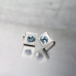 Shop Aquamarine Earrings! Minimalistic Aquamarine Stud Earrings March Birthstone Sterling Silver Squares Pale Sky Blue Gemstones Gift Idea For Her – Himmelseckchen | Natural genuine Aquamarine earrings. Buy crystal jewelry, handmade handcrafted artisan jewelry for women.  Unique handmade gift ideas. #jewelry #beadedearrings #beadedjewelry #gift #shopping #handmadejewelry #fashion #style #product #earrings #affiliate #ad