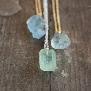 Raw Aquamarine Necklace, March Birthstone Healing Crystal Necklace | Natural genuine Aquamarine jewelry. Buy crystal jewelry, handmade handcrafted artisan jewelry for women.  Unique handmade gift ideas. #jewelry #beadedjewelry #beadedjewelry #crystaljewelry #gemstonejewelry #handmadejewelry #jewelry #affiliate