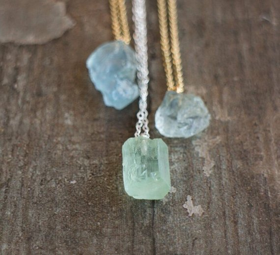 Raw Aquamarine Necklace, March Birthstone Healing Crystal Necklace