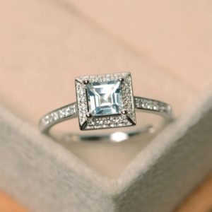 Aquamarine ring, March birthstone ring, gemstone ring aquamarine, engagement ring, sterling silver | Natural genuine Array rings, simple unique alternative gemstone engagement rings. #rings #jewelry #bridal #wedding #jewelryaccessories #engagementrings #weddingideas #affiliate #ad
