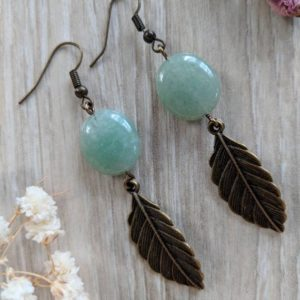 Shop Aventurine Earrings! Brass Leaf Earrings / Aventurine Earrings Drop Earrings / Green Gemstone Earrings | Natural genuine Aventurine earrings. Buy crystal jewelry, handmade handcrafted artisan jewelry for women.  Unique handmade gift ideas. #jewelry #beadedearrings #beadedjewelry #gift #shopping #handmadejewelry #fashion #style #product #earrings #affiliate #ad