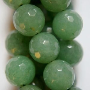 "Shop Aventurine Faceted Beads! Natural Faceted Green Aventurine beads – Round 12 mm Gemstone Beads – Full Strand 15 1/2"", 32 beads, A Quality 
