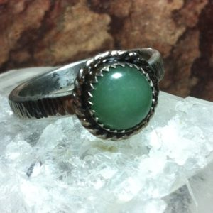 Shop Aventurine Rings! Aventurine ring, Size 8 3/4, Oxidized and Textured | Natural genuine Aventurine rings, simple unique handcrafted gemstone rings. #rings #jewelry #shopping #gift #handmade #fashion #style #affiliate #ad