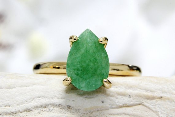 Green Aventurine Ring,gold Green Ring,vintage Ring,teardrop Ring,gold Stacking Ring,gemstone Ring
