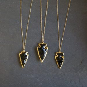 Black Obsidian Necklace / Raw Obsidian Necklace / Arrowhead Necklace / Gold Obsidian Necklace | Natural genuine Golden Obsidian necklaces. Buy crystal jewelry, handmade handcrafted artisan jewelry for women.  Unique handmade gift ideas. #jewelry #beadednecklaces #beadedjewelry #gift #shopping #handmadejewelry #fashion #style #product #necklaces #affiliate #ad