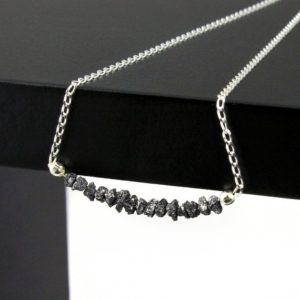 Shop Diamond Necklaces! Black Rough Bar Diamonds Necklace In Sterling Silver – Mother's Day Gift – Raw Uncut Diamonds – April Birthstone | Natural genuine Diamond necklaces. Buy crystal jewelry, handmade handcrafted artisan jewelry for women.  Unique handmade gift ideas. #jewelry #beadednecklaces #beadedjewelry #gift #shopping #handmadejewelry #fashion #style #product #necklaces #affiliate #ad